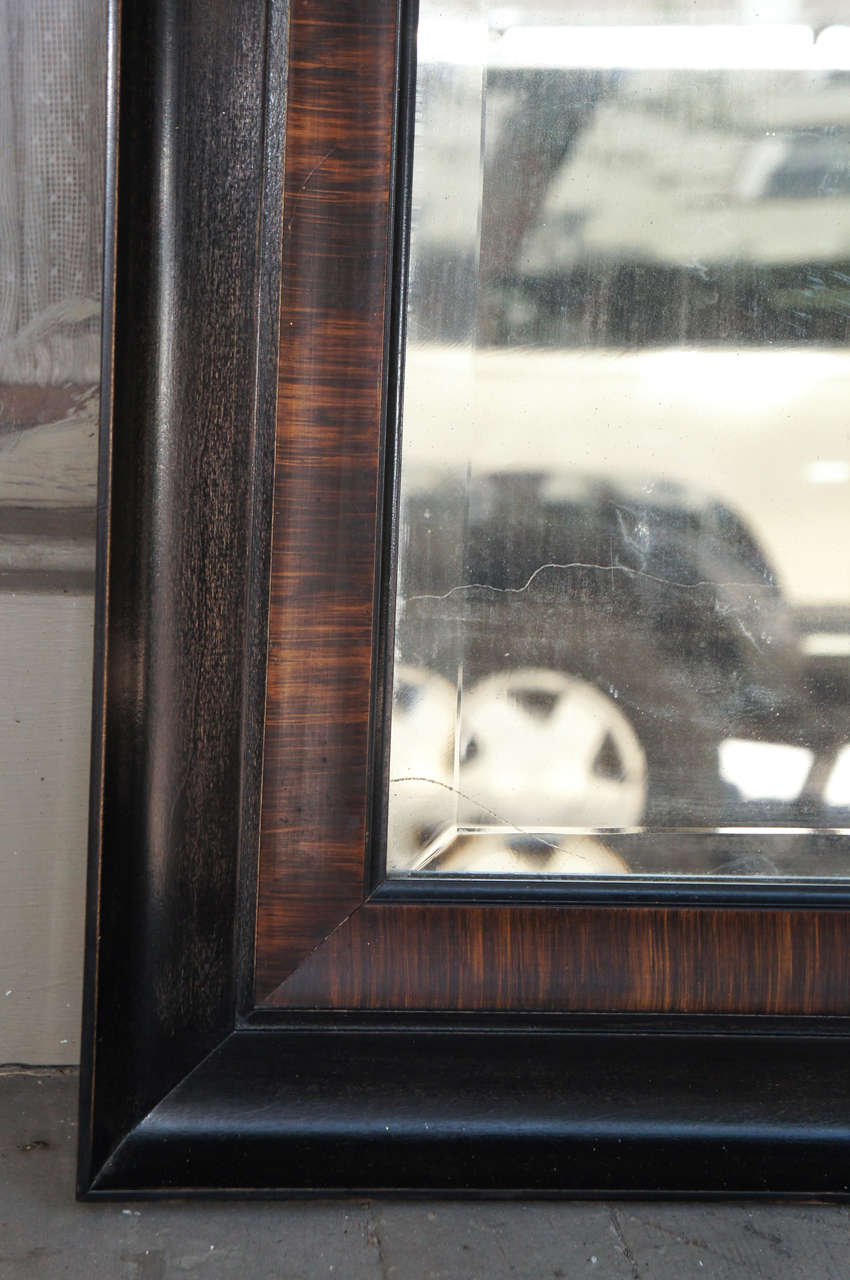 British Rosewood Grain Painted & Ebonized Mirror For Sale