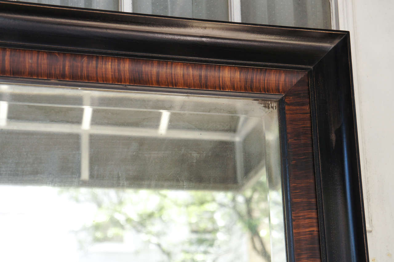 Rosewood Grain Painted & Ebonized Mirror In Good Condition For Sale In Hudson, NY