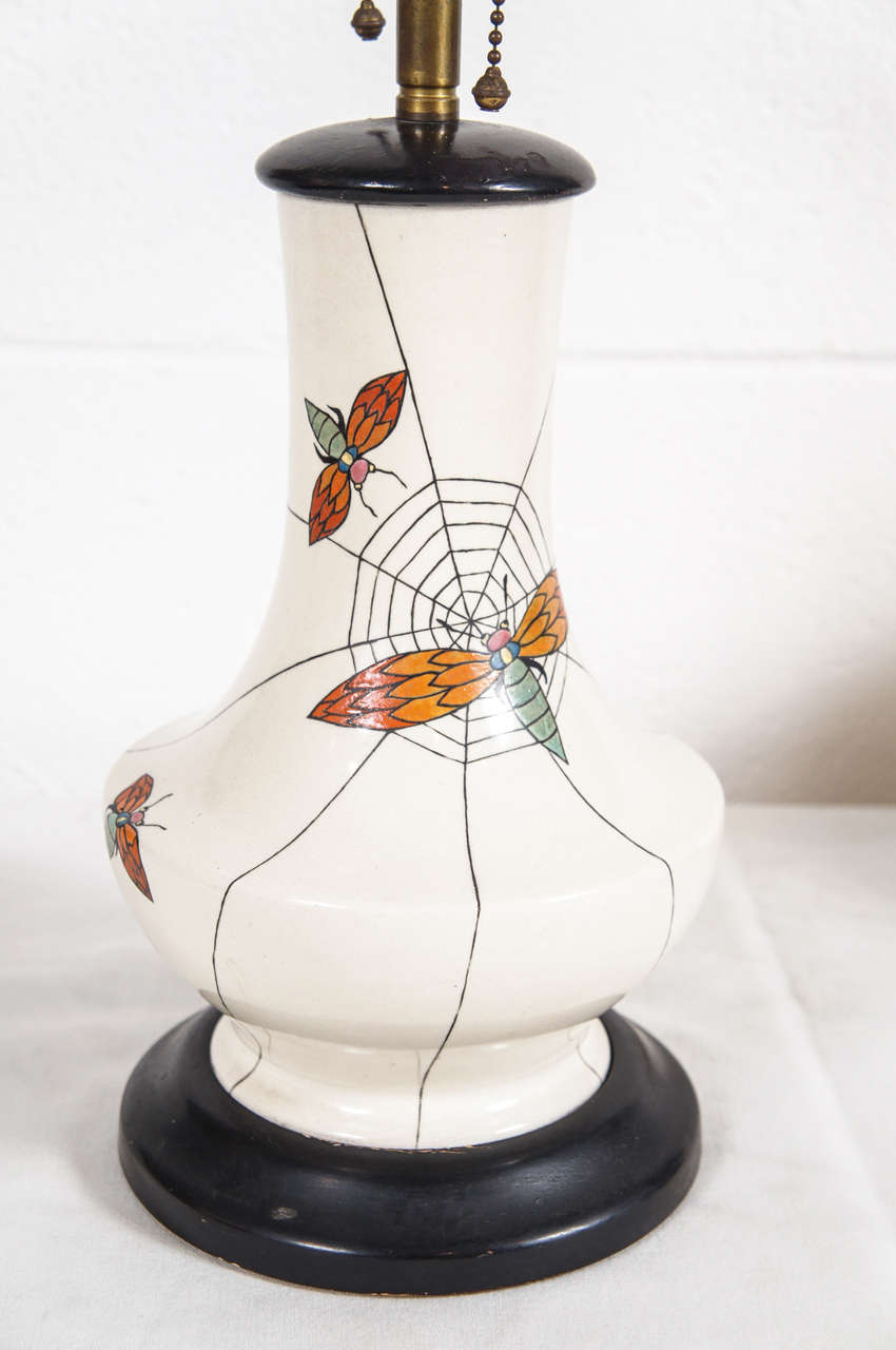 unique spider lamp with webbing for sale at 1stdibs. Black Bedroom Furniture Sets. Home Design Ideas