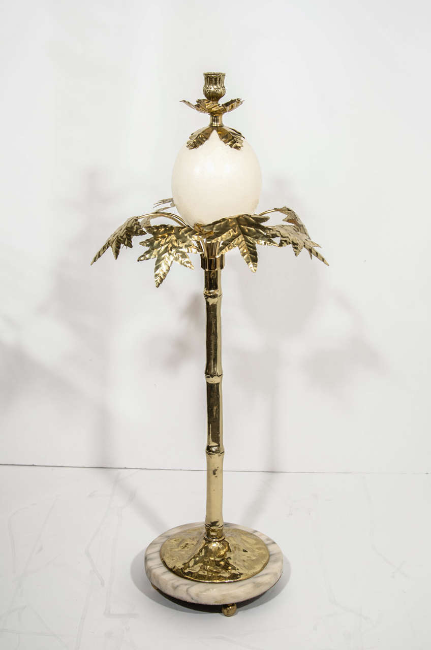 Pair of Exotic Ostrich Egg & Brass Candlesticks in the Manner of Anthony Redmile image 2