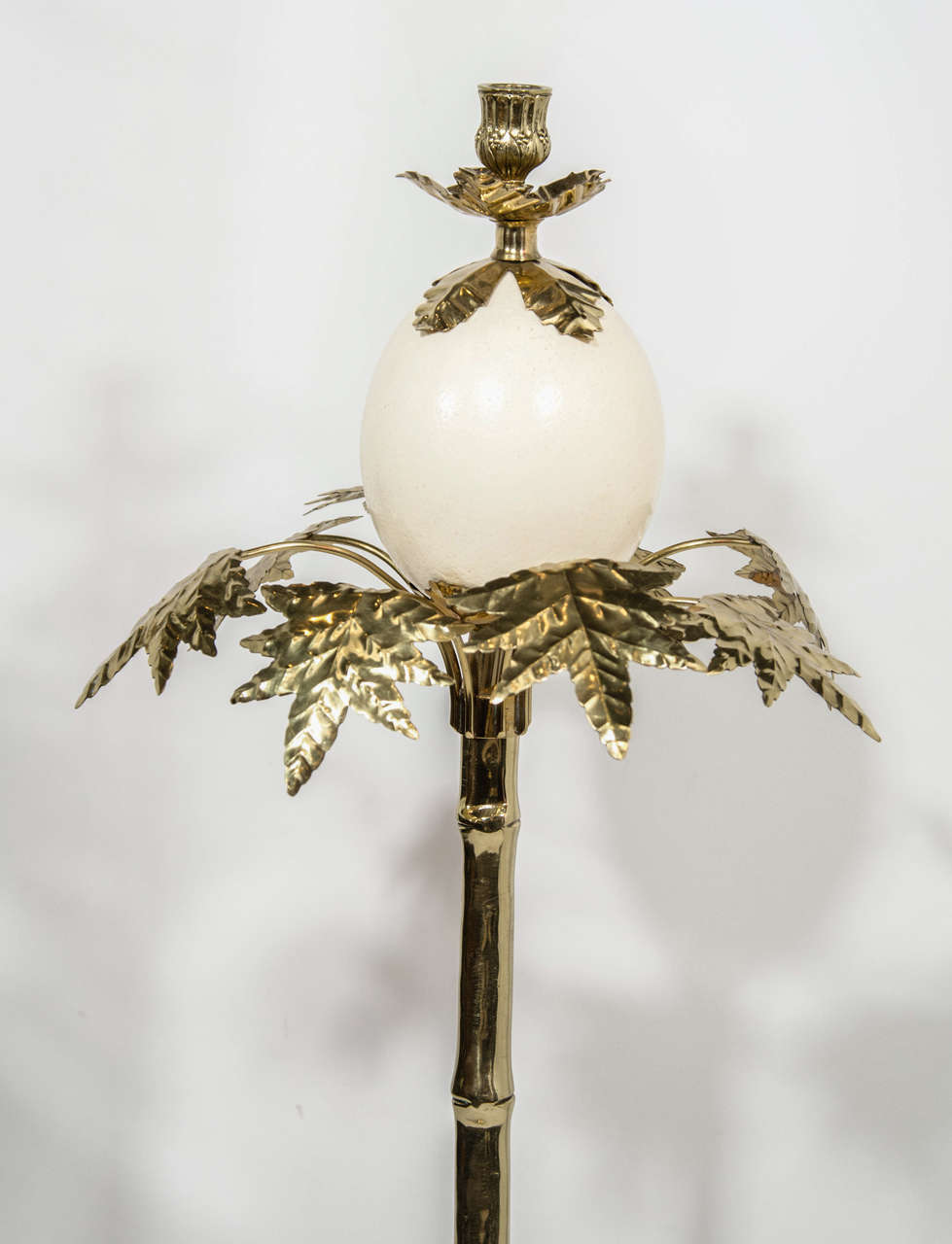 Pair of Exotic Ostrich Egg & Brass Candlesticks in the Manner of Anthony Redmile image 4