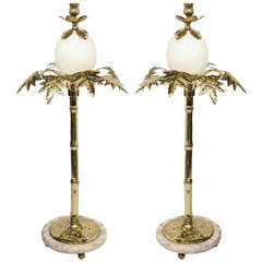 Pair of Exotic Ostrich Egg & Brass Candlesticks in the Manner of Anthony Redmile