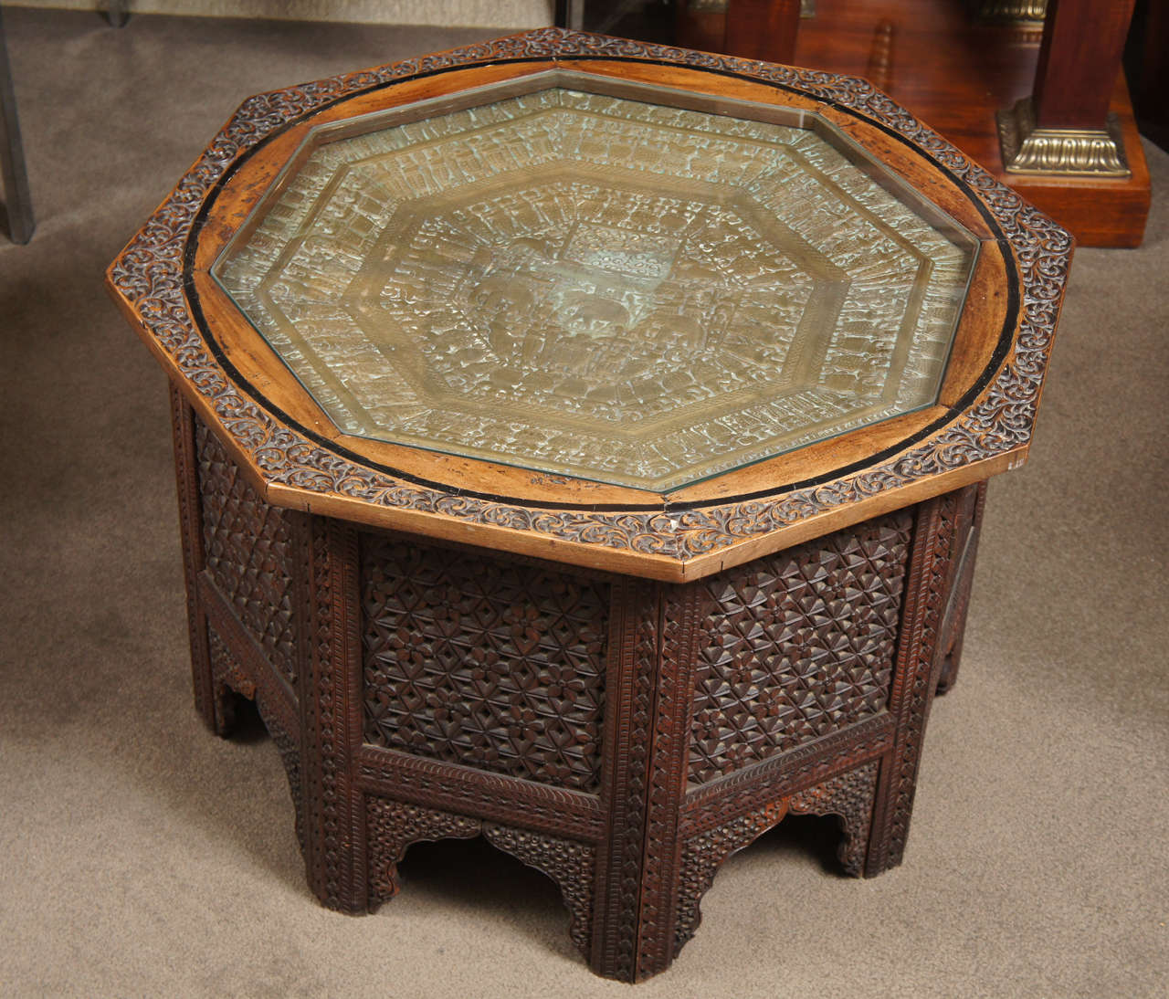 Carved wood indian side table with glass top at stdibs