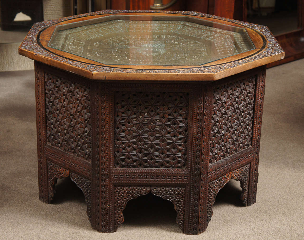 Carved Wood Indian Side Table With Glass Top At 1stdibs
