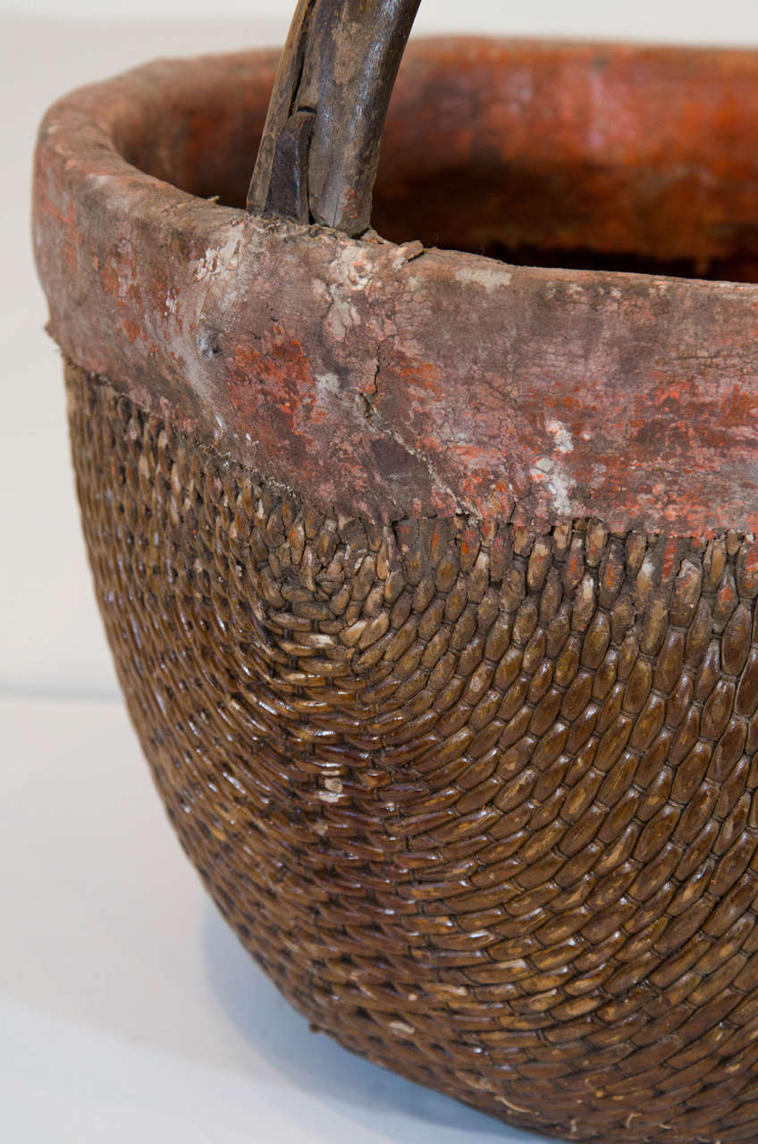 Folk Art Antique Chinese Willow & Clay Baskets For Sale