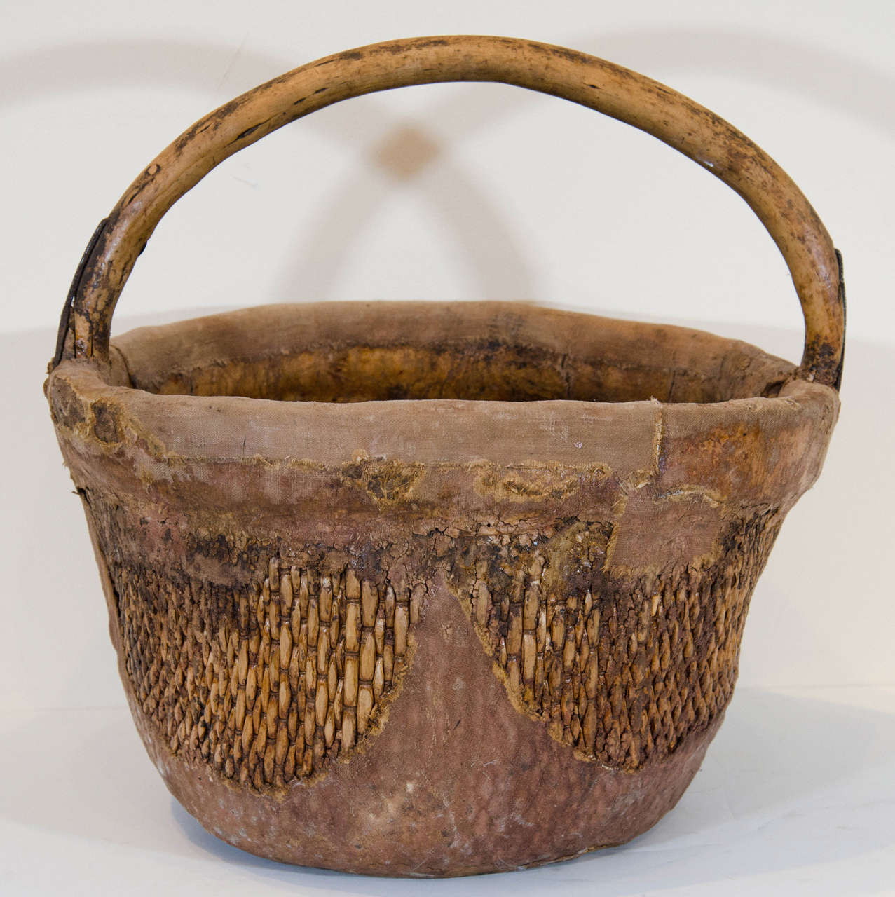 Antique Chinese Willow & Clay Baskets For Sale 1