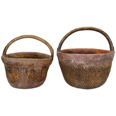 Antique Chinese Willow & Clay Baskets
