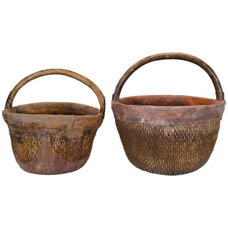 Antique Chinese Willow & Clay Baskets For Sale