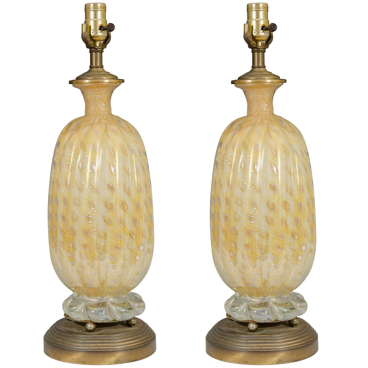 of gold colored murano glass seguso table lamps for sale at 1stdibs. Black Bedroom Furniture Sets. Home Design Ideas