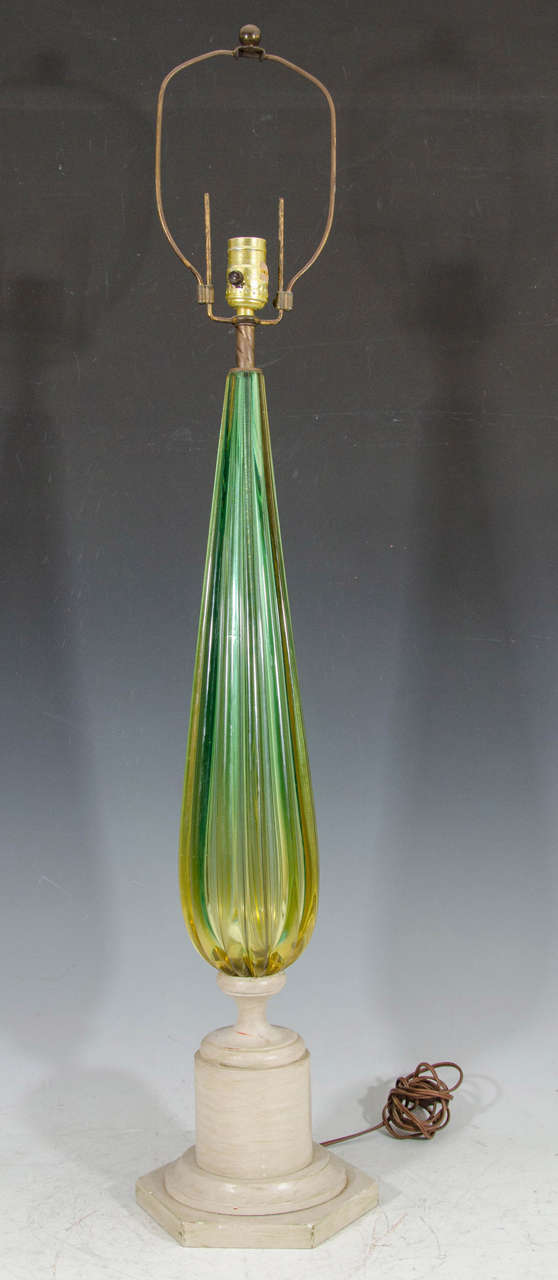 Midcentury Pair of Green Murano Glass Seguso Lamps 2