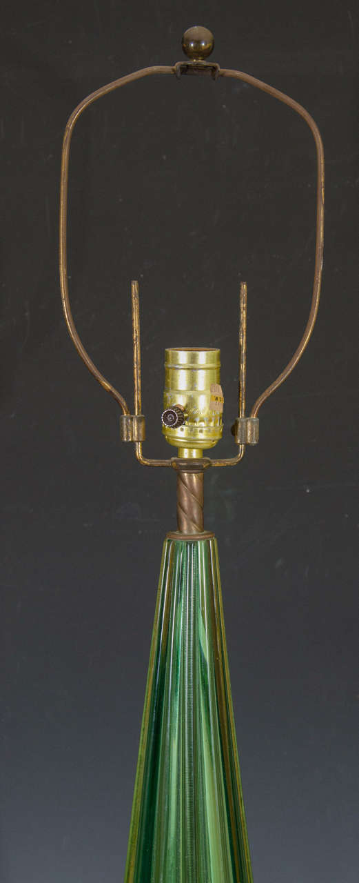 Midcentury Pair of Green Murano Glass Seguso Lamps 5