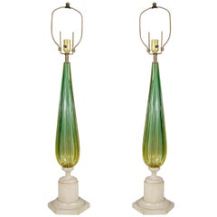 Midcentury Pair of Green Murano Glass Seguso Lamps