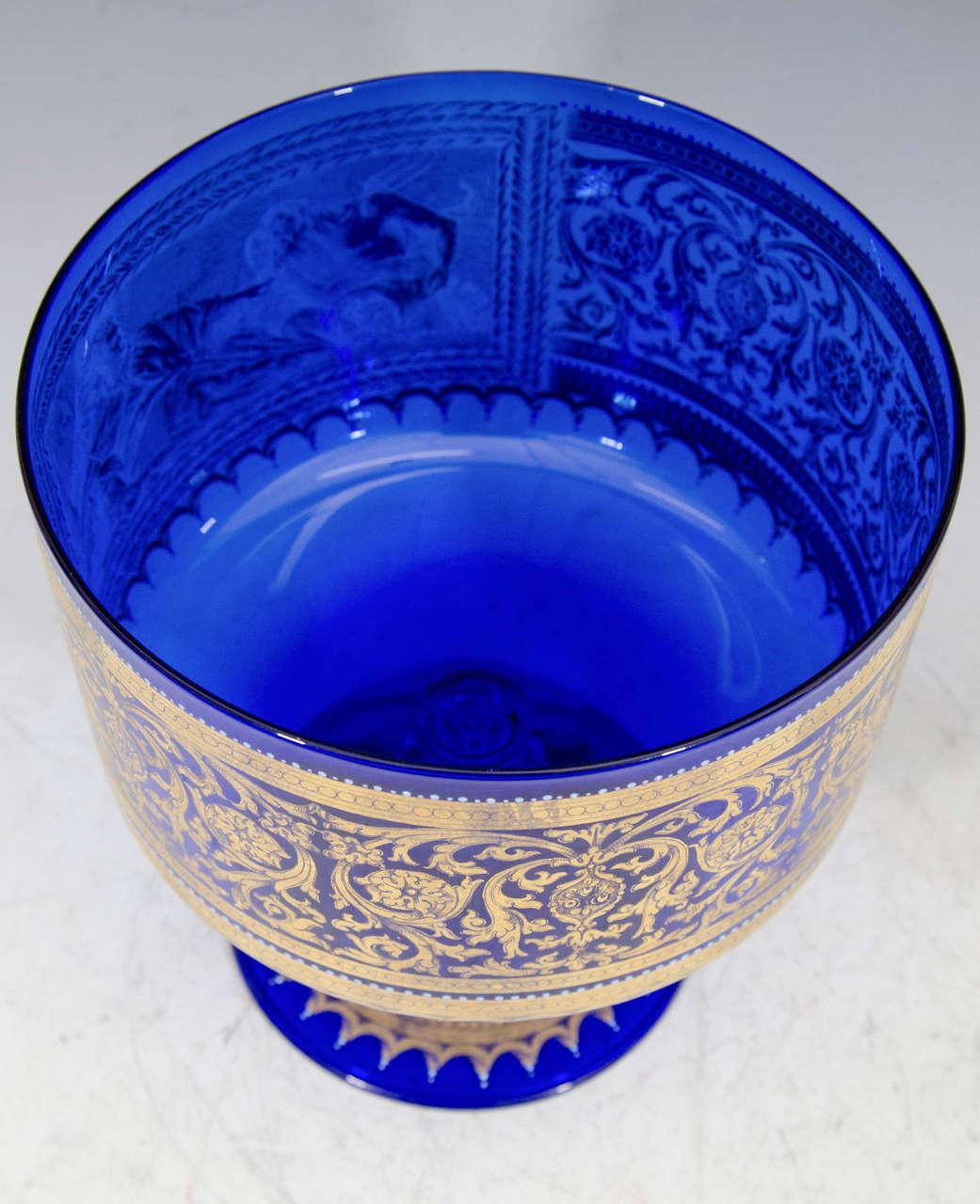 Venetian Murano Glass Compote With Scene Of Neptune And
