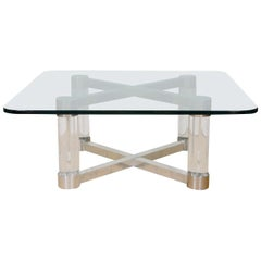 Midcentury Lucite and Chrome Springer Style Coffee or Cocktail Table