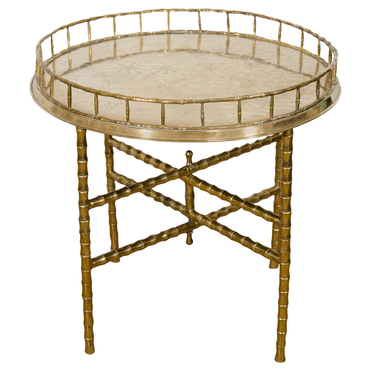 Captivating Midcentury Faux Bamboo, Circular Brass Tray With Folding Table Or Stand 1