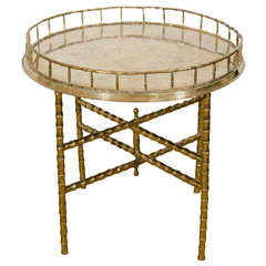 Midcentury Faux Bamboo, Circular Brass Tray with Folding Table or Stand