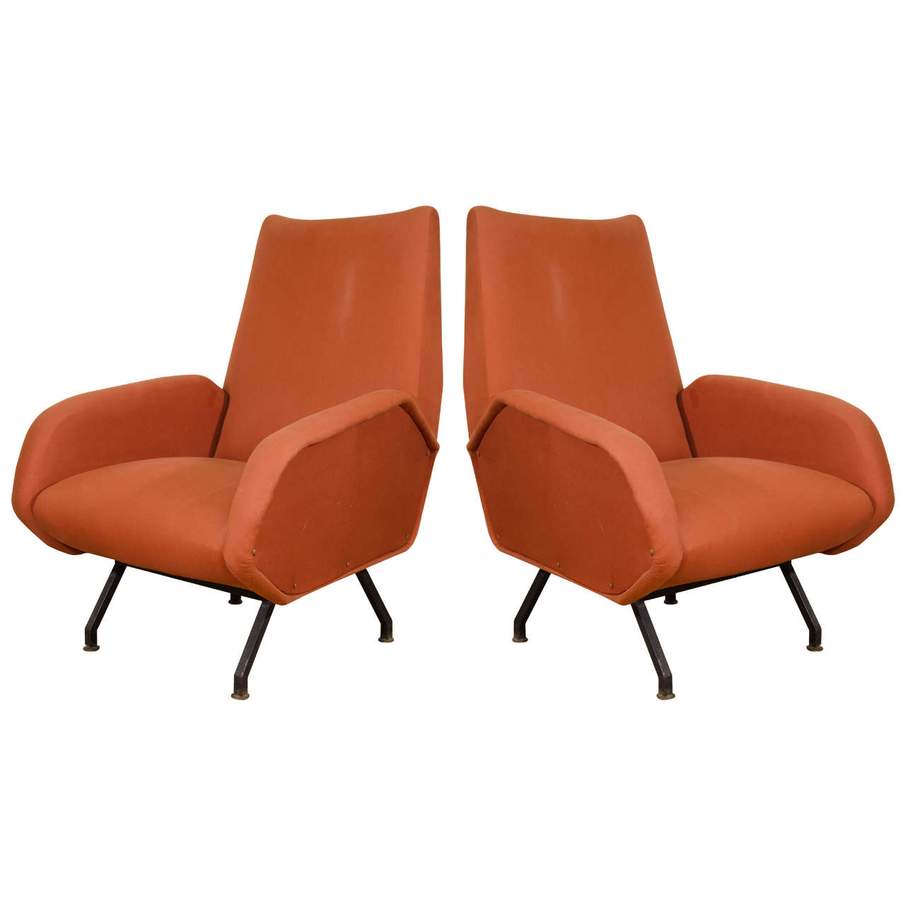 Rust Colored Chair: Midcentury Pair Of Italian Rust Colored Lounge Chairs At