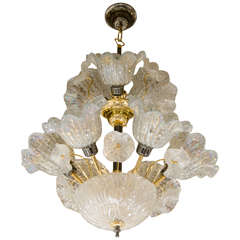 Midcentury Murano Glass, Floral Chandelier