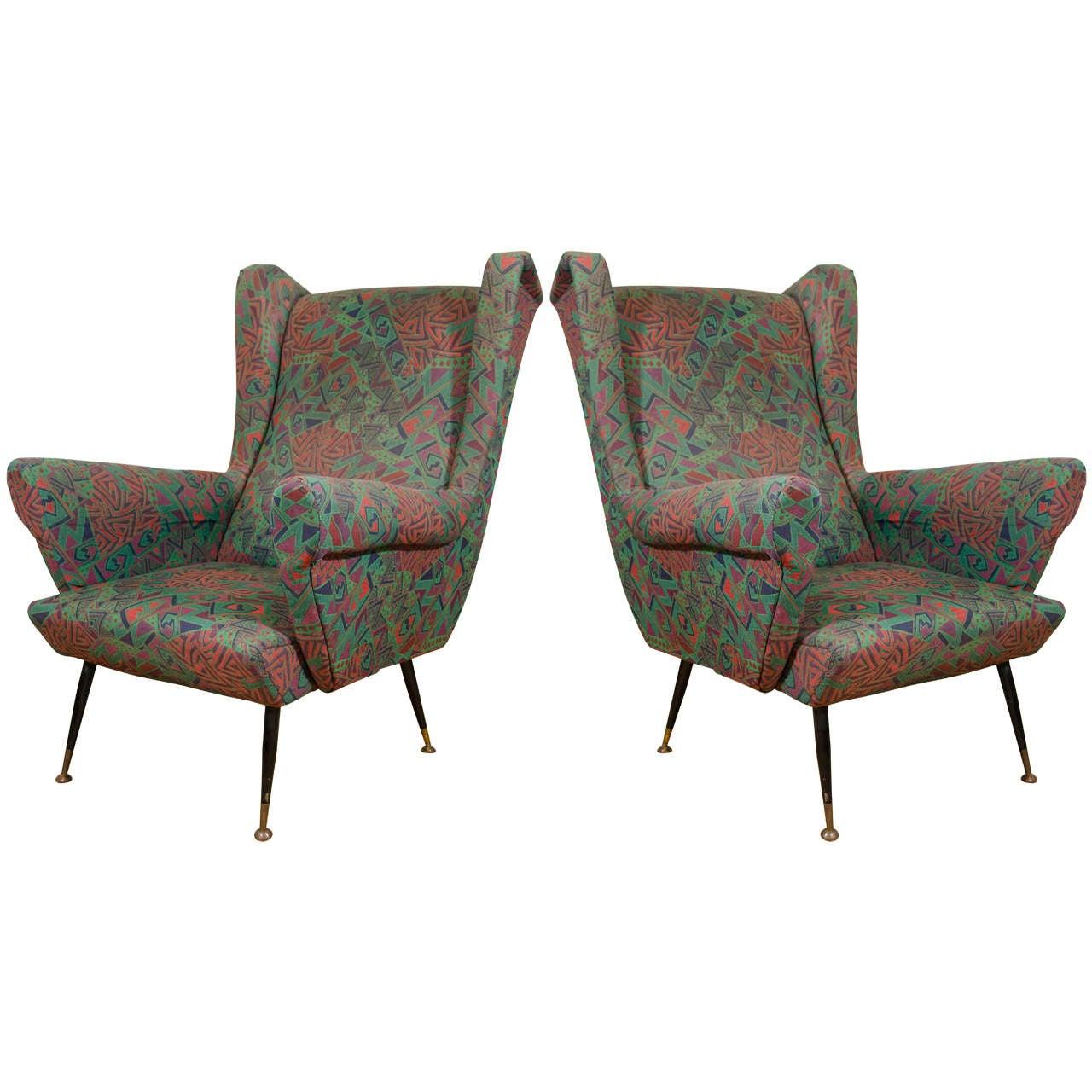 Midcentury Pair of Aqua Colored Wingback Italian Armchairs ...