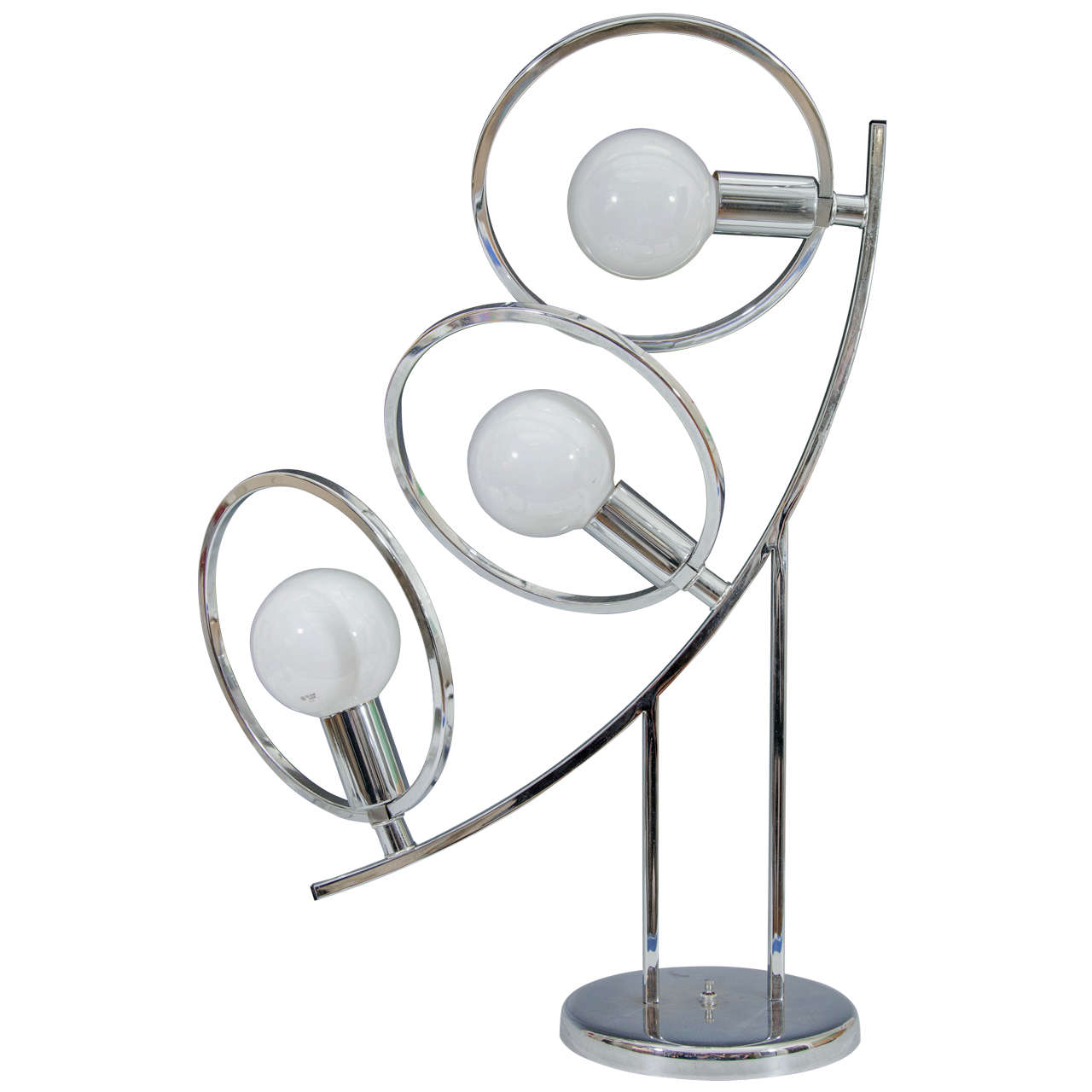 Midcentury Sculptural Chrome, Three Light Table Lamp