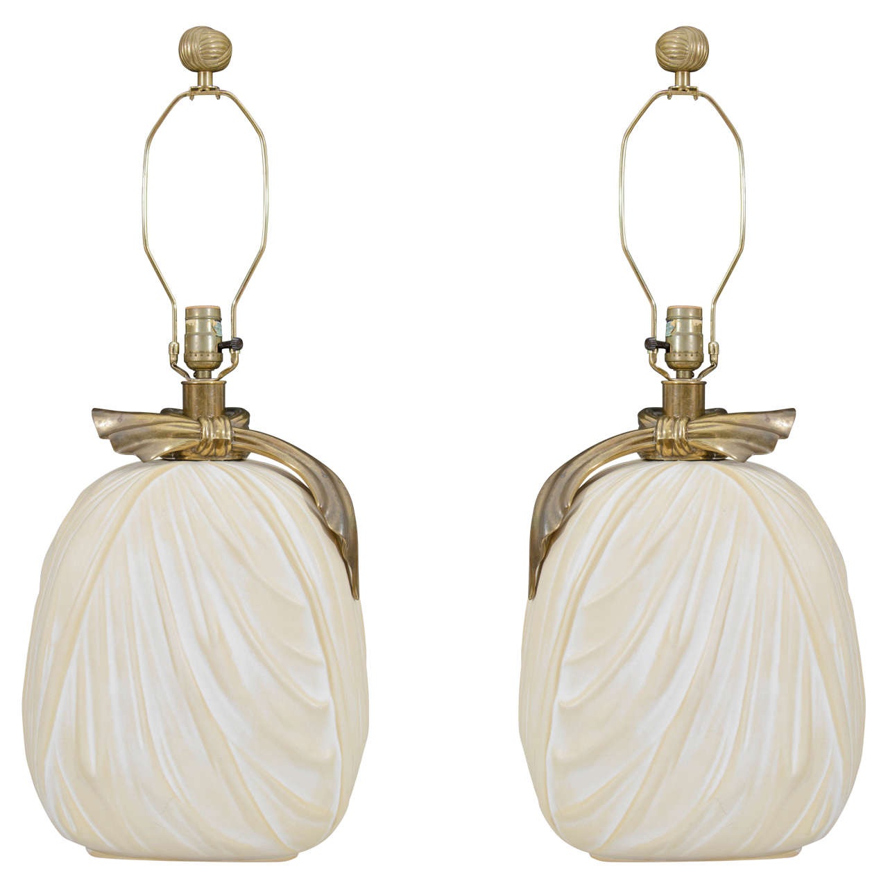 Table lamp vintage style - Vintage Pair Of Large Hollywood Regency Style Chapman Table Lamps 1