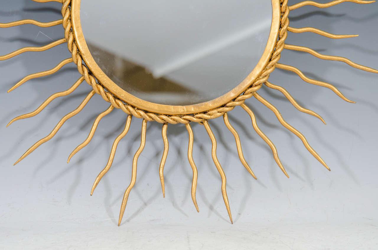 Mid-Century Modern Midcentury Pair of Starburst Wall Mirrors