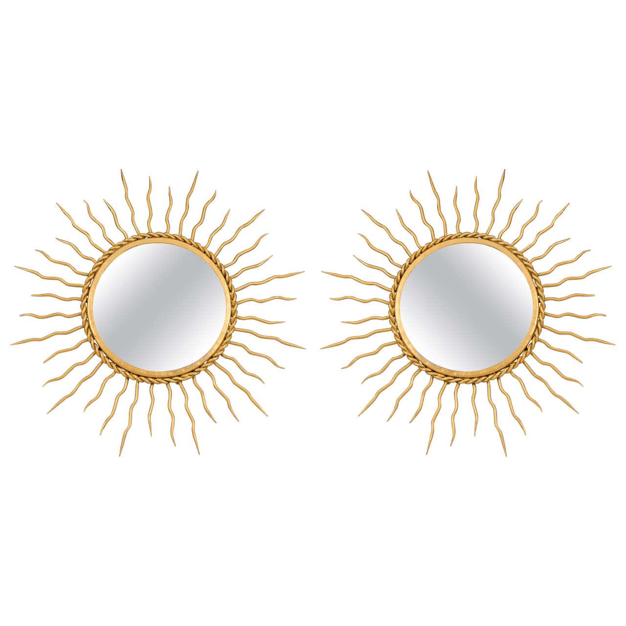 Midcentury Pair of Starburst Wall Mirrors