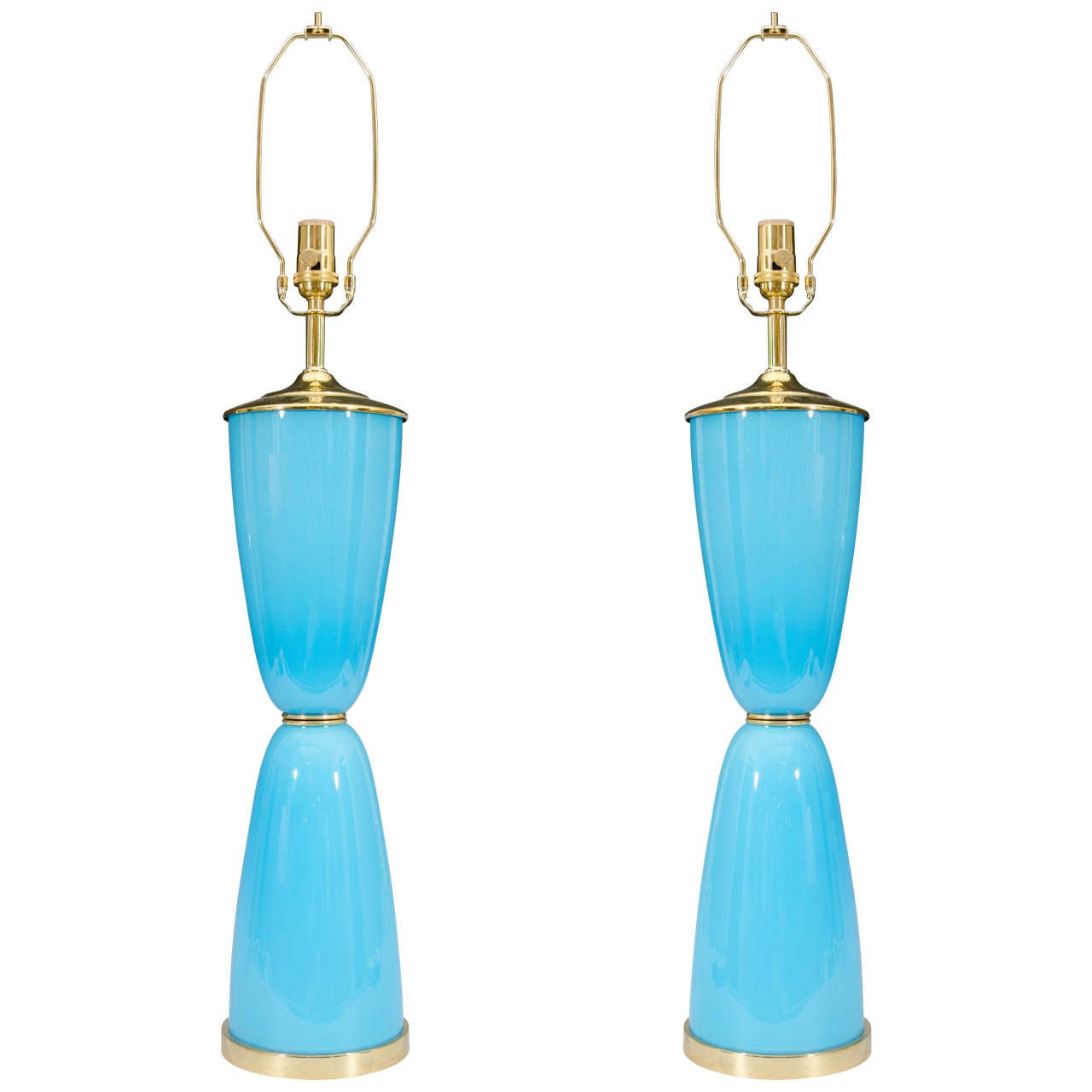 this midcentury pair of turquoise murano glass table lamps is no. Black Bedroom Furniture Sets. Home Design Ideas