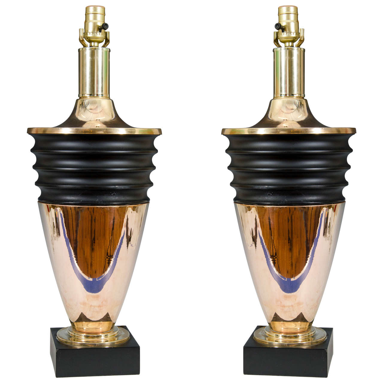 Midcentury Pair of Brass Art Deco Style Table Lamps