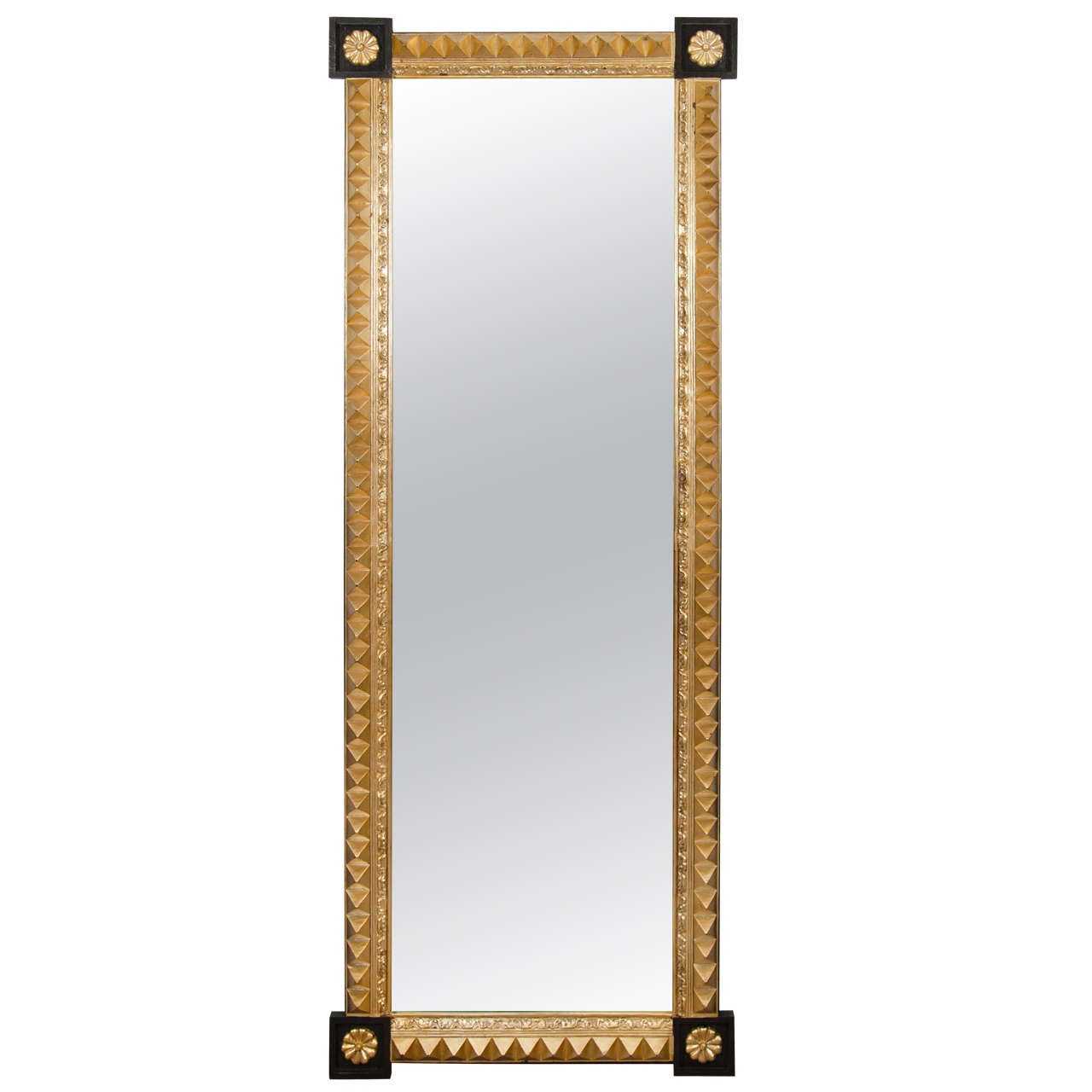 A black and gold studded full length mirror for Black floor length mirror
