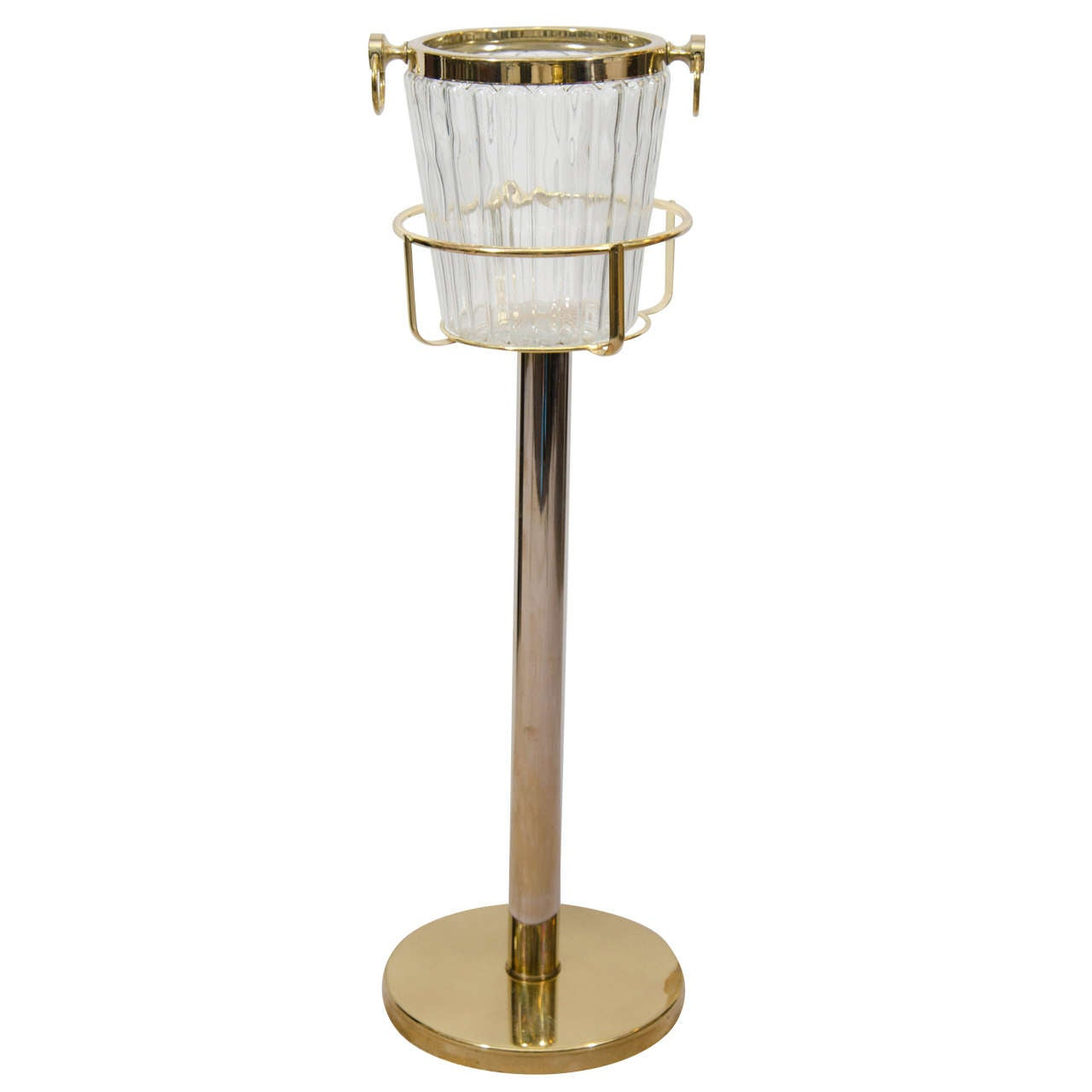 Ice Bucket Champagne Bucket And Brass Stand At 1stdibs