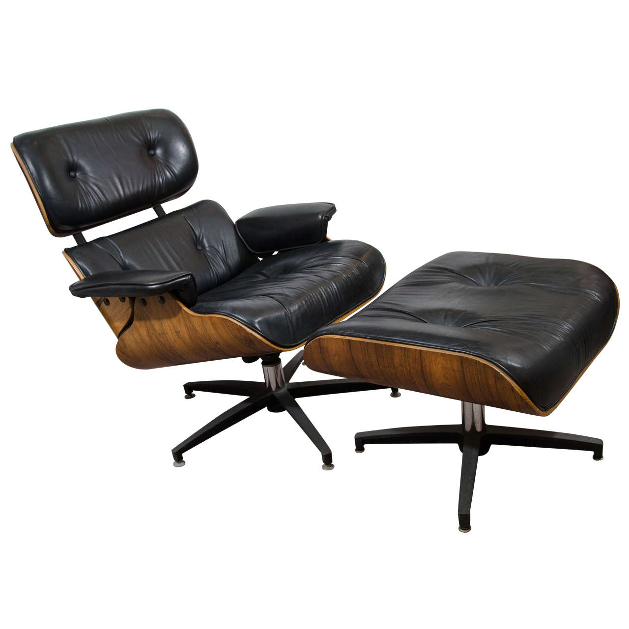 Midcentury Eames Style Lounge Chair and Ottoman at 1stdibs