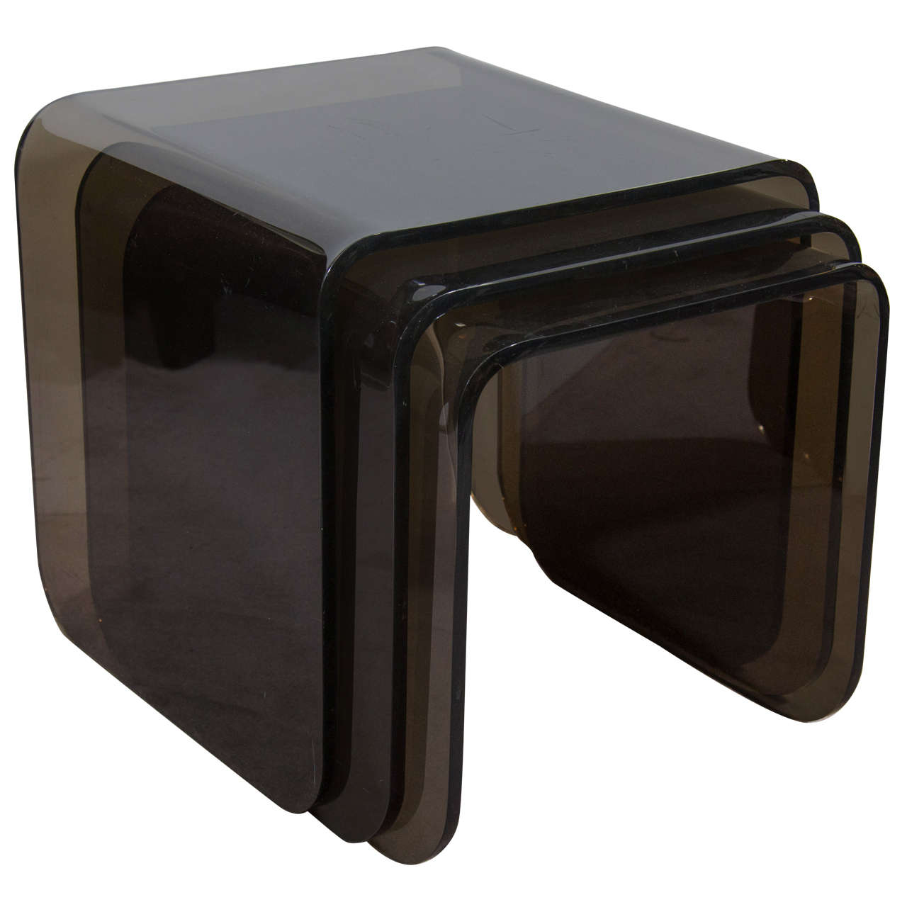 Spectacular trio of modern waterfall design quartz lucite nesting tables at 1stdibs - Modern architectural trio ...