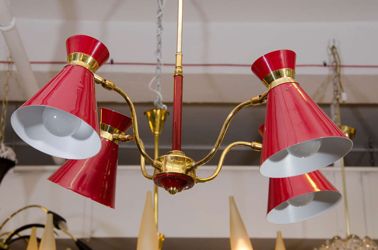 Midcentury Four Arm Red Metal Chandelier Attributed To