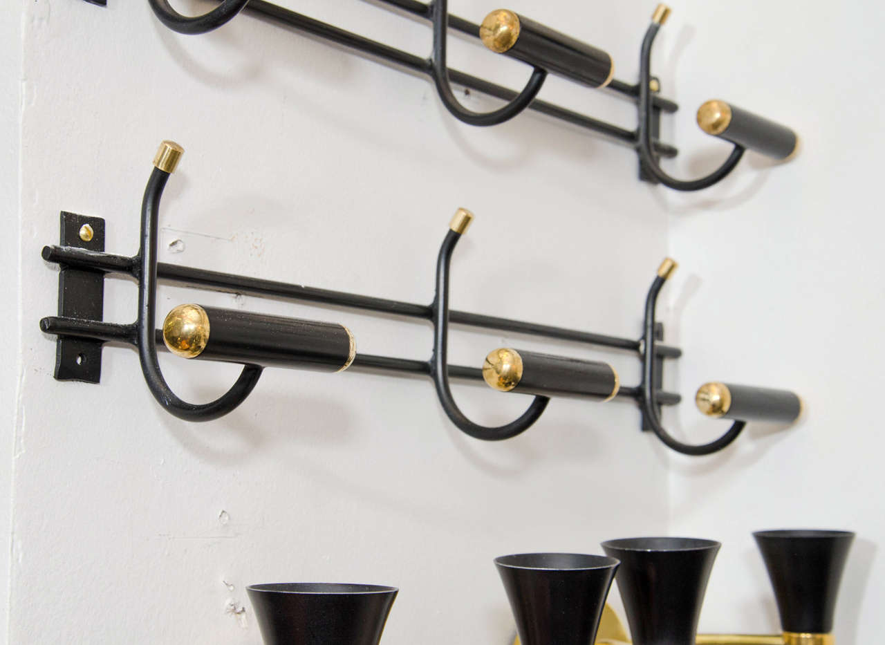 Mid-Century Modern Midcentury Pair of Rare Wall Mounted Coat Racks For Sale