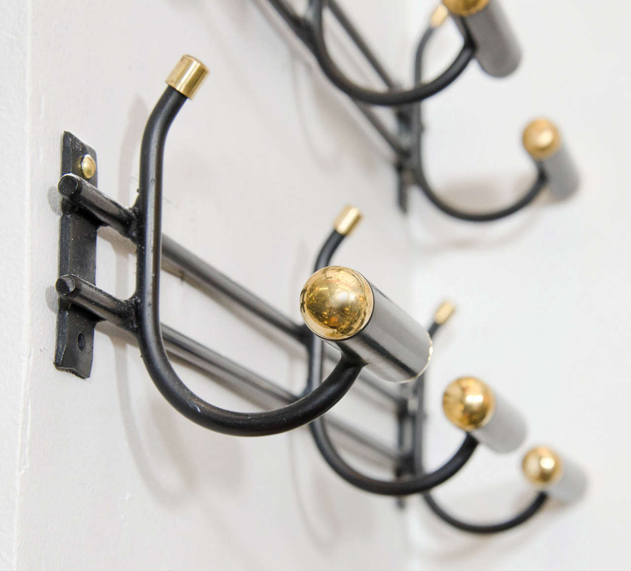 French Midcentury Pair of Rare Wall Mounted Coat Racks For Sale