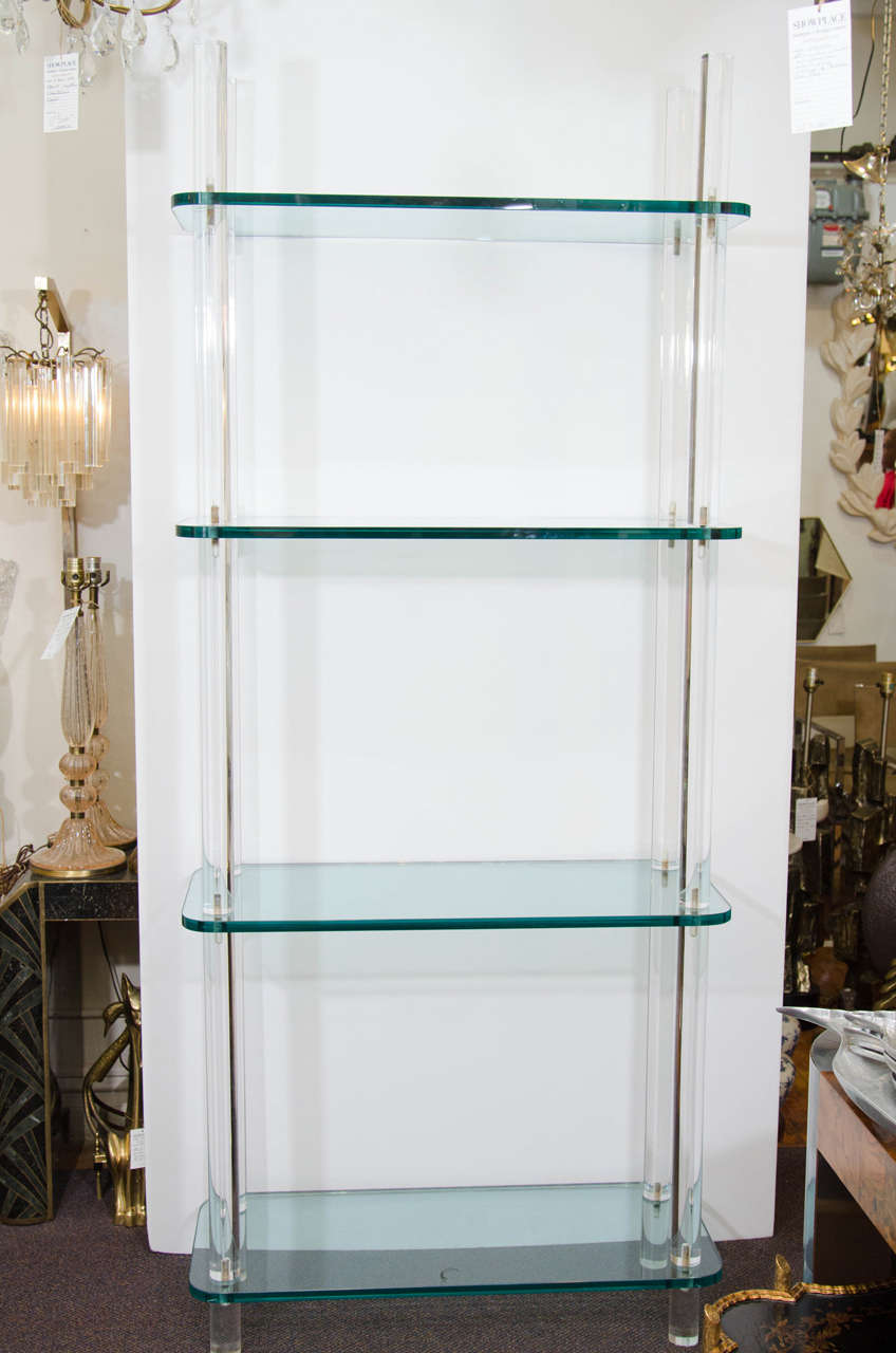 Midcentury Solid Lucite and Glass Bookshelf or Bookcase. 2