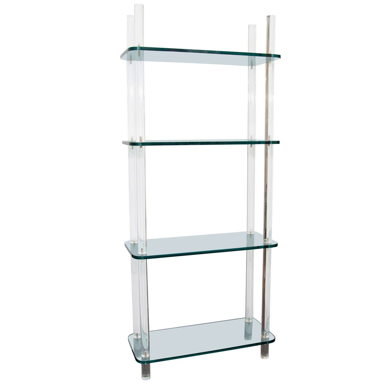 Midcentury Solid Lucite and Glass Bookshelf or Bookcase. at 1stdibs