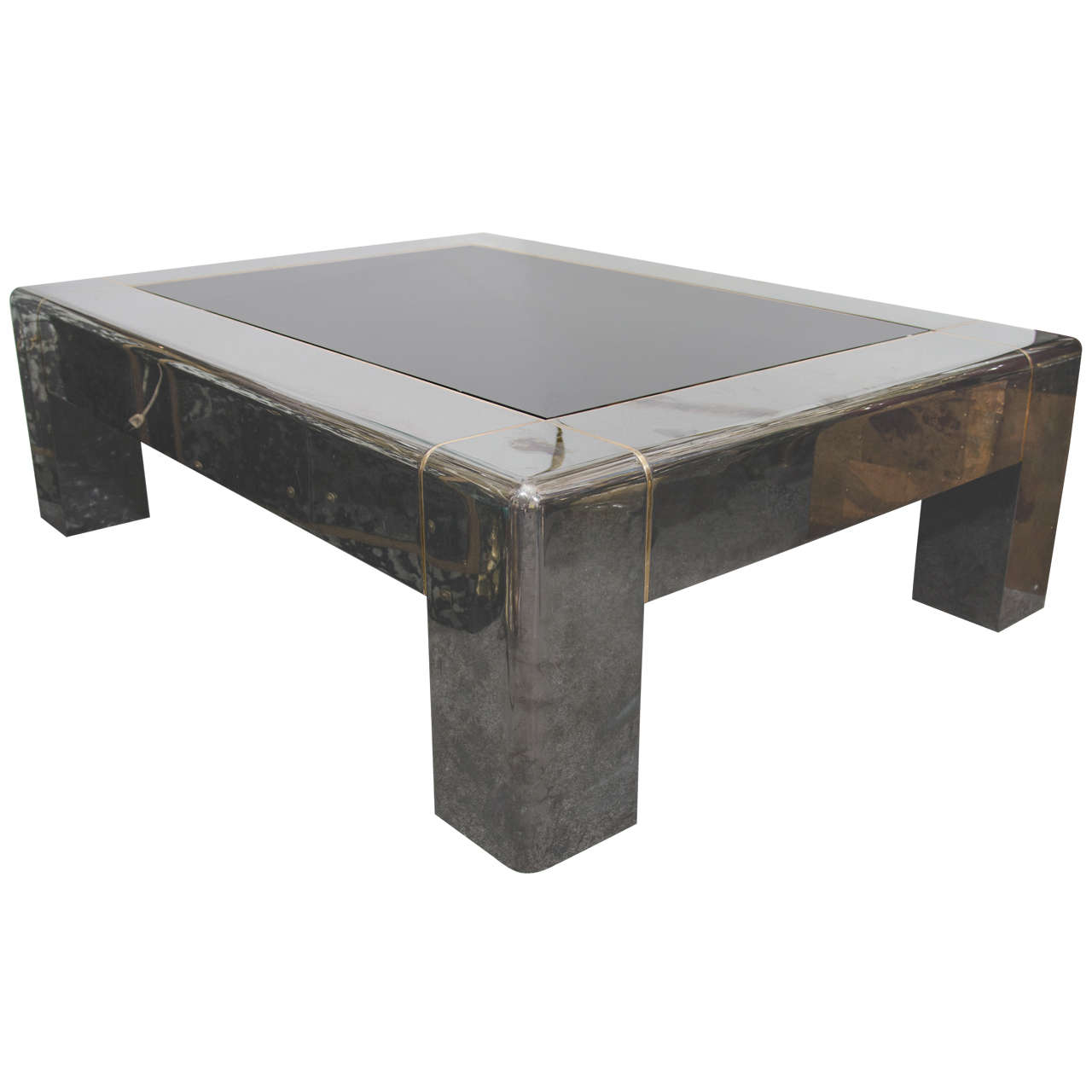 Midcentury Gunmetal And Smoked Glass Karl Springer Coffee Table At 1stdibs