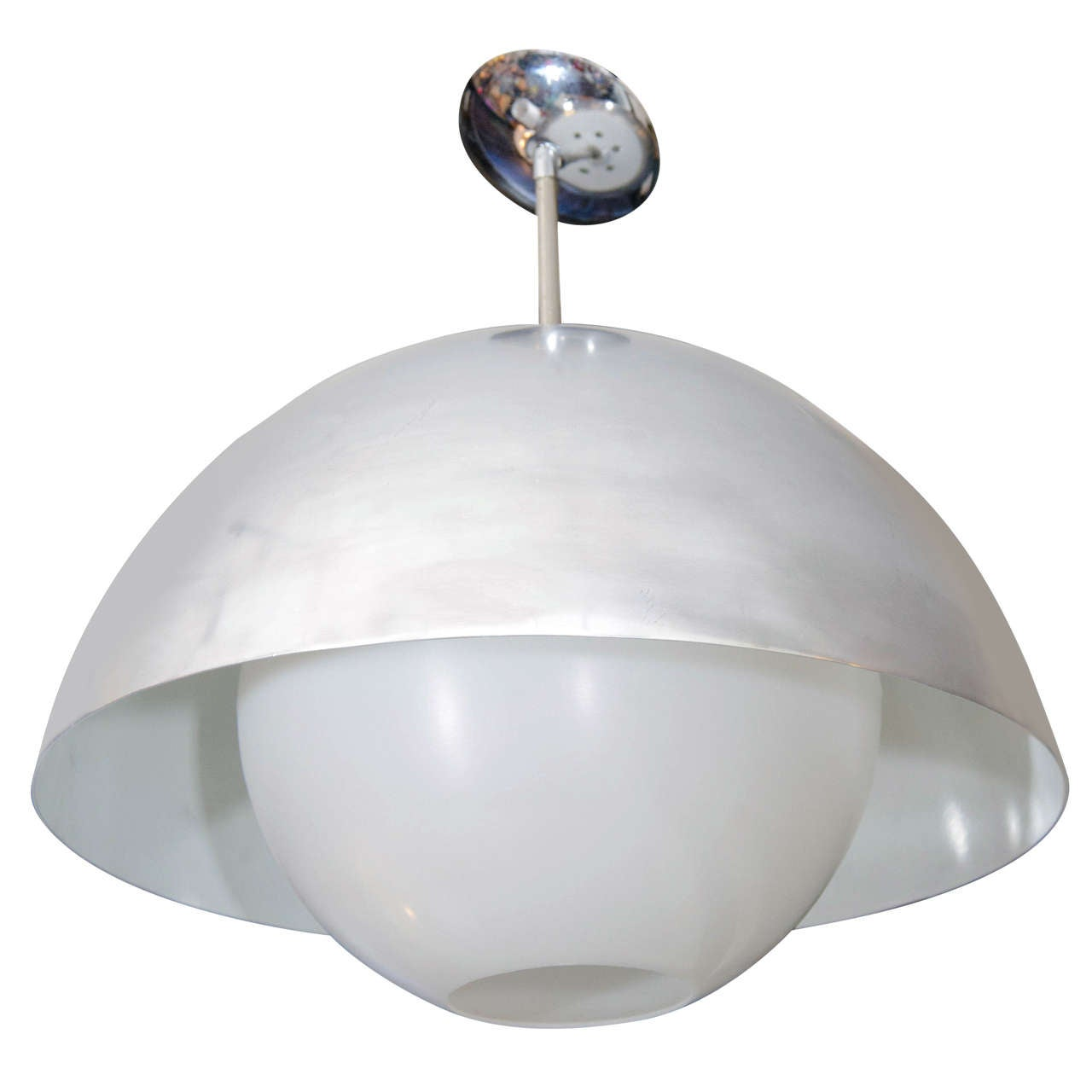 Mid century modern dome pendant light by paul mayen at 1stdibs for Mid century modern hanging lamp