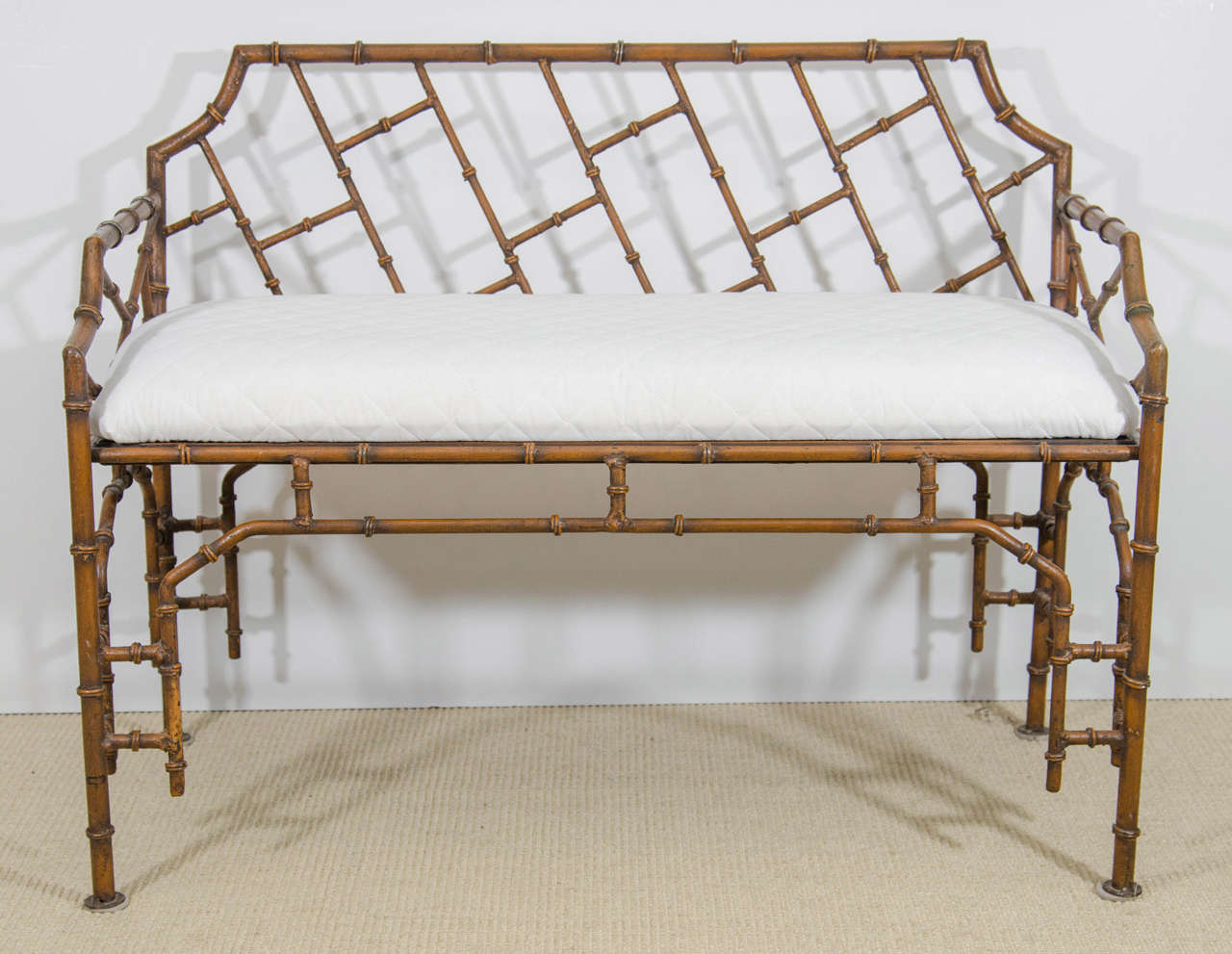 midcentury iron faux bamboo bench at stdibs - midcentury iron faux bamboo bench