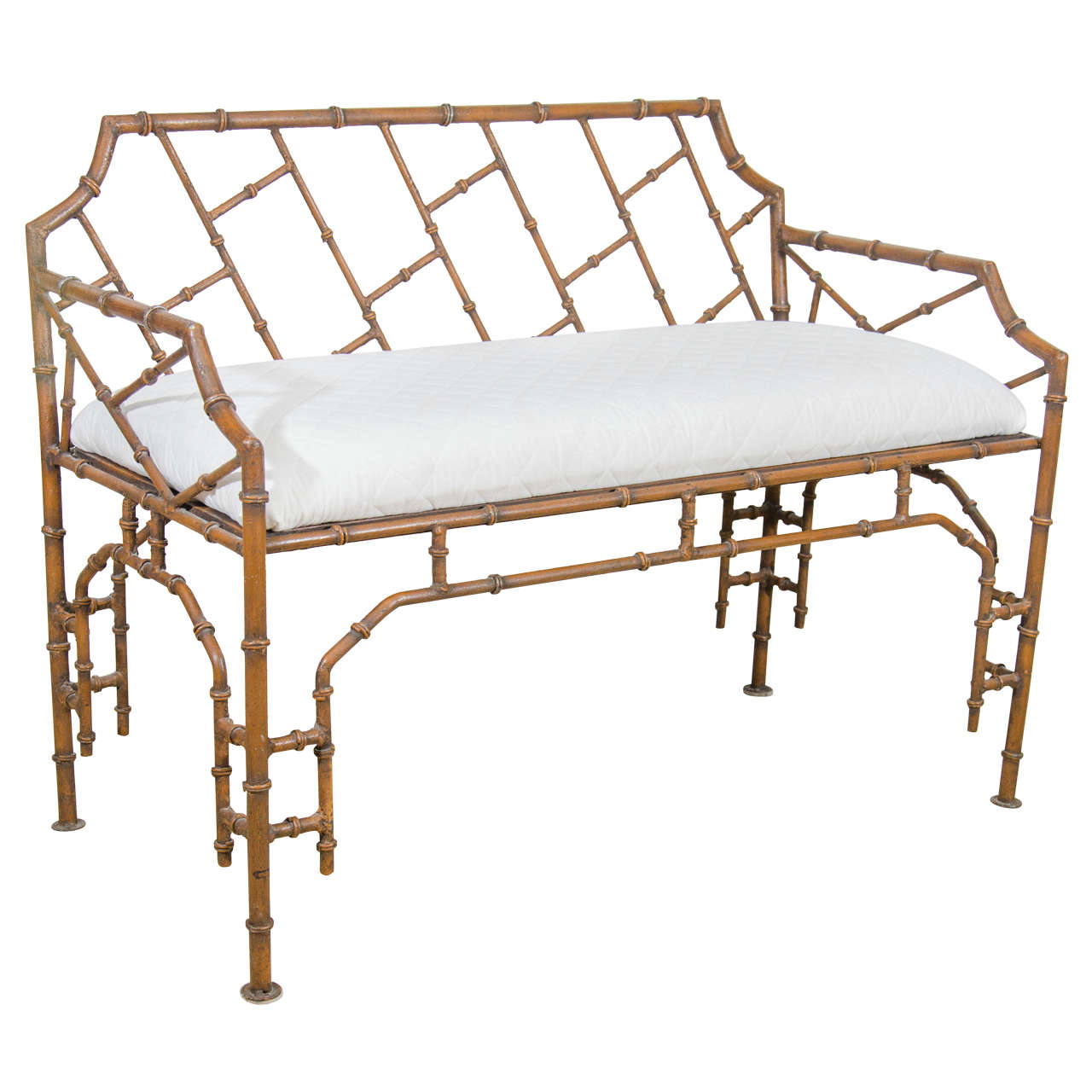 Midcentury Iron Faux Bamboo Bench At 1stdibs