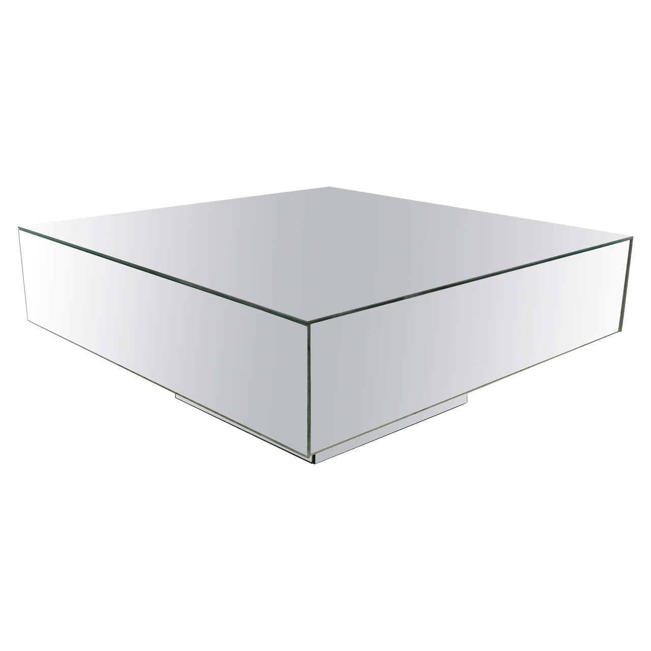 Midcentury Cube Style Mirrored Coffee Or Cocktail Table For Sale