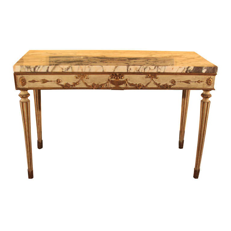Italian painted console table at 1stdibs for Painted foyer tables
