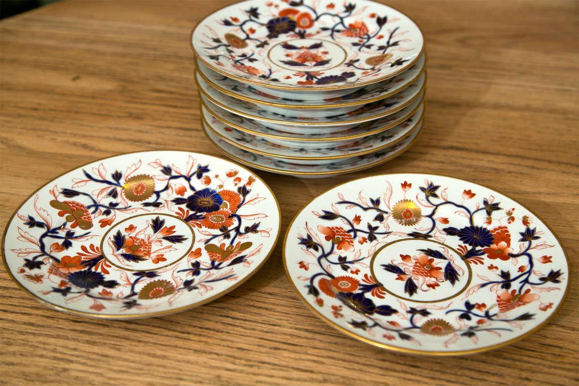 20th Century Set of 8 Chamberlain Wercester Imari Dessert Plates* For Sale