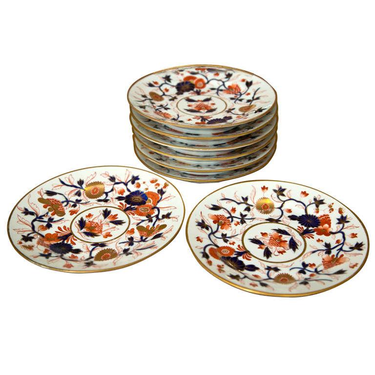 Set of 8 Chamberlain Wercester Imari Dessert Plates* For Sale