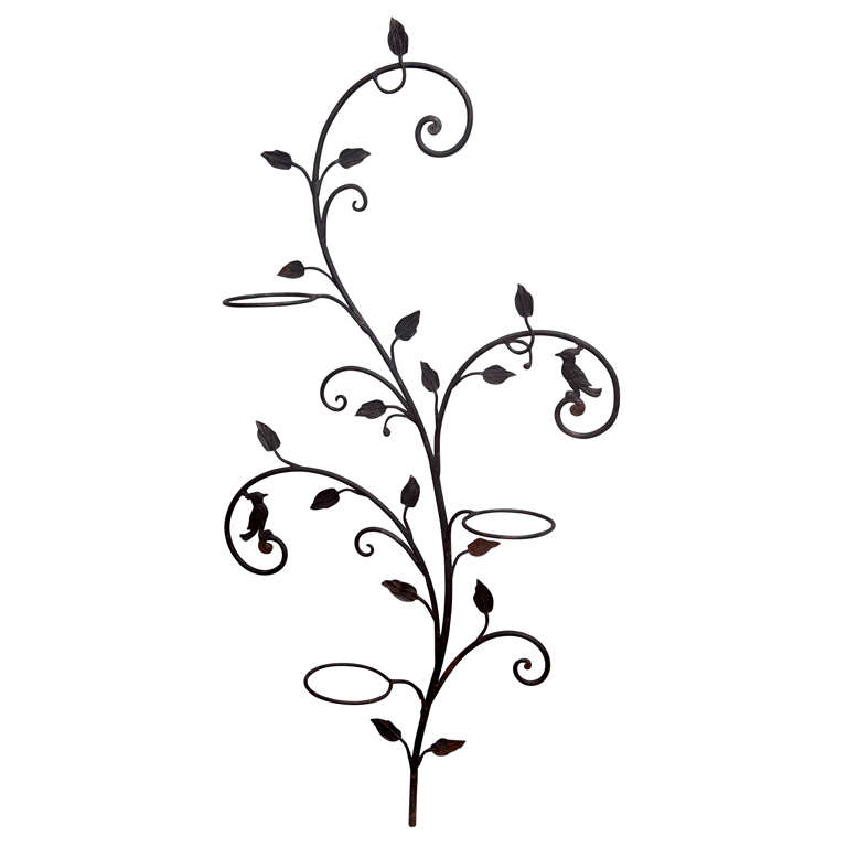 Decorative Wrought Iron Wall Planter Tree at 1stdibs