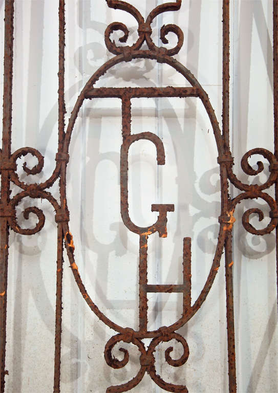 Monogrammed Wrought Iron English Garden Gate At 1stdibs