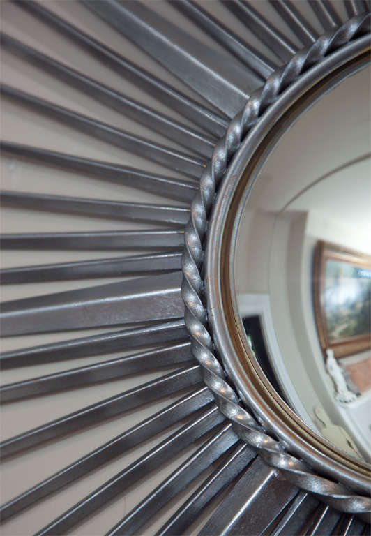 Large silver chaty vallauris sunburst mirror at 1stdibs for Chaty vallauris miroir