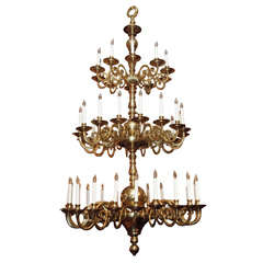 Antique Dutch Solid Brass Baronial Chandelier